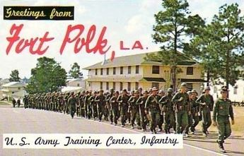 "Photo of soldiers in the 1960s with the text ""Greetings from Fort Polk, LA."""